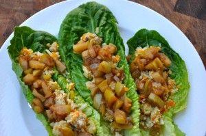 Cinnamon-Ground-Turkey-with-Cauliflower-Rice-on-Lettuce-Wraps-topped-with-Quick-Apple-Chutney-2-realhealthyrecipes-300x199